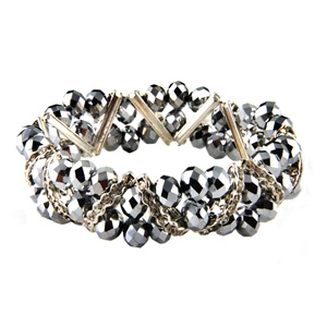 Stretchable Beads and Glass Bracelet - Silver Color