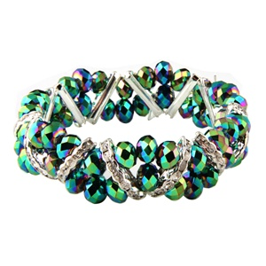 Stretchable Beads and Glass Bracelet - Rainbow