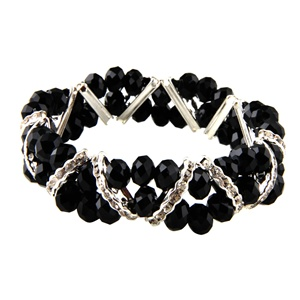 Stretchable Beads and Glass Bracelet - Black
