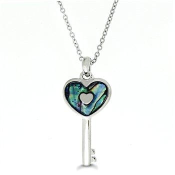 Genuine Shell Necklace - Heart Key Design