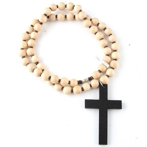 Huge Wooden Beads Cross Necklace White