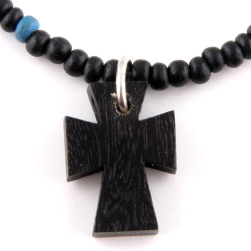 Wooden Bead Necklace Cross Pendant