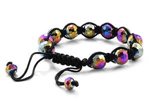Stone Bead Bracelet - Black String Crystal Rainbow Color