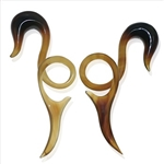 "Horn Twisted Ear Hook Plugs Gauges sizes 10g, 8G, 6G, 4G, 2G, 0G, 00G, 7/16"", 1/2"""