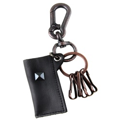 Genuine Leather  Pouch Key Chain - Metal Stud Accent - Black