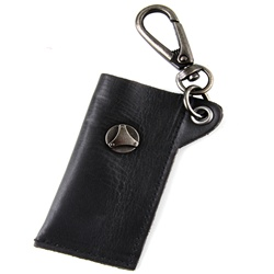 Genuine Leather Key Chain - Metal Stud Accent - Black