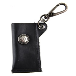 Genuine Leather Key Chain -  Star Accent - Black