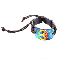 Trendy Celeb Leather Bracelet - Peace Sign