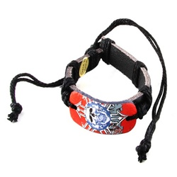 Trendy Celeb Leather Bracelet - Skull with Black Cord