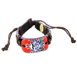 Trendy Celeb Leather Bracelet - Skull with Brown Cord