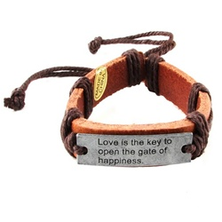 Insperational Leather Bracelet  with Metal ID
