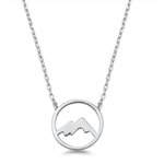 Silver Italian Necklace - Mountains