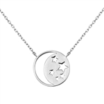 Silver Italian Necklace - Moon and Stars