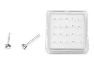 Silver Nose Stud - Clear CZ - 1.5 mm