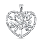 Silver CZ Pendant - Tree of Life in Heart