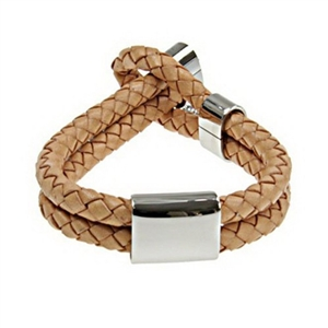 Leather Toggle Bracelet with Stainless Steel ID Plate