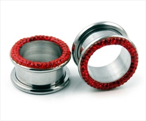 "Screw on Micro Gem Flesh Ear Gauge Tunnel 316L Steel Gem Red Body Jewelry 0g 1/2"" 2g 4g 5/8"" 6g 7/16"" 9/16"" SP-05"