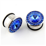Single Flare Steel Plug Ear Plug Stainless Steel surgical gem blue body jewelry