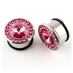 Single Flare Steel Plug Ear Stainless surgical gem pink body jewelry
