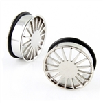 Single Flare Steel Ear Plug Tunnel Rings Stainless Surgical Wheel Design  body jewelry