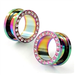 Anodized Screw on Flesh Tunnel Rainbow Gem clear stainless surgical steel body jewelry