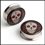 "Screw on stash steel plugs gauges with Sugar Skull Day of the Dead logo, available in the following sizes: 13/16"", 7/8"""