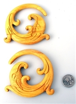 Hand Carved Spiral Tribal Design Ear Plugs Organic Gauges Body Jewelry