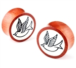 "wood sparrow logo bone inlay double flare hand made Ear Plugs Organic Gauges Body Jewelry 00G 0G 1"" (INCH) 1/2"" 3/4 5/8 7/16"" 7/8 9/16"