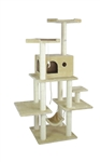"70"" Cat Tree and  Kitty Condo Scratching Post Beige"