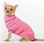 Fashion Pet Classic Cable Sweater in Pink X Small