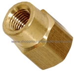 8.705-156.0 Brass Reducing Hex Coupling 3/8 FPT x 1/4 FPT