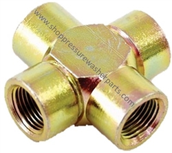 "8.705-418.0 High Pressure Zinc Plated 1/4"" FPT Steel Cross 5000 PSI"