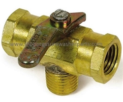 "8.709-207.0 Brass 3-Way Ball Valve 400 PSI, 1/4"" M Inlet and 1/4"" F Outlets"