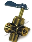 "8.710-113.0 Brass 4-Way Flow Selector Ball Valve, 1/4"" F Inlet and 1/4"" F Outlets"