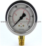 8.710-272.0 Bottom Mount Stainless Steel Pressure Gauge 200 PSI