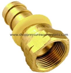 "9.802-153.0 Brass 1/4"" Push On Hose Barb x 1/4"" JIC FPT Swivel"