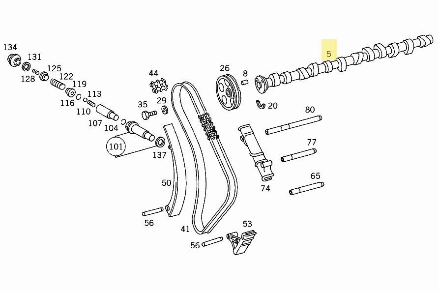 Camshaft 6-Cylinder New OE OM603 Diesel W124 W126 W140 W460