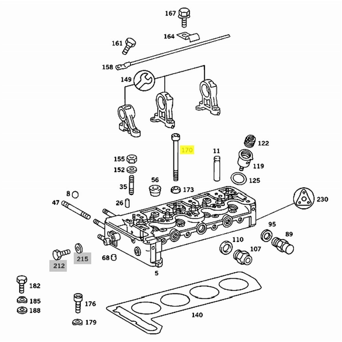 Engine Cylinder Head Bolt M12 x 1.5 x 144 mm FITS MERCEDES