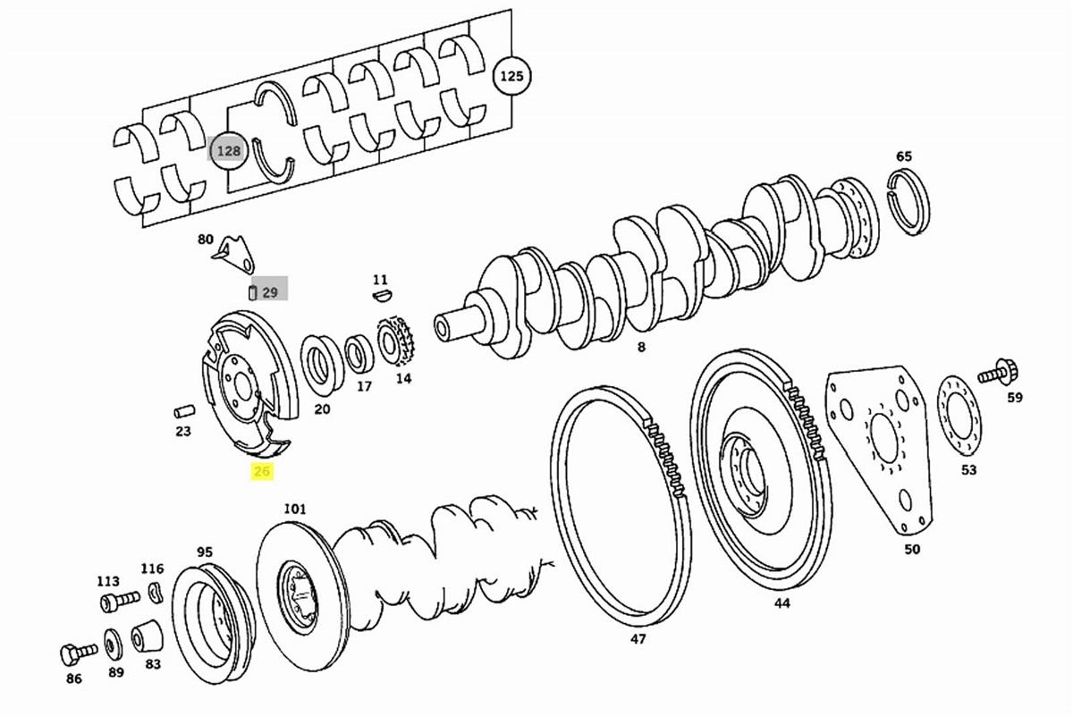 Mercedes Crankshaft Harmonic Balancer OM617 NA Diesel W115
