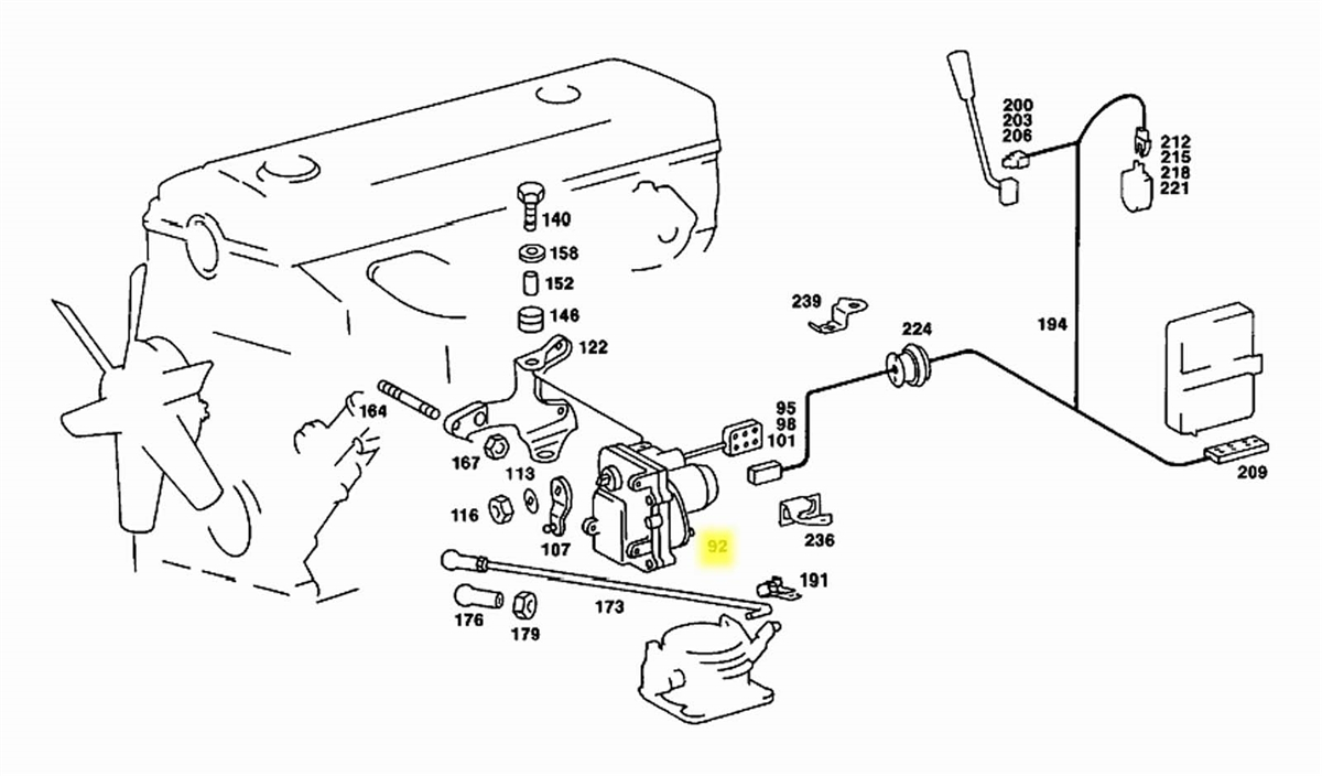 Mercedes Cruise Control Actuator Assembly OM601 OM602