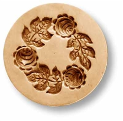 Wreath With Three Roses Springerle Cookie Mold