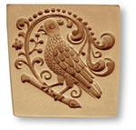 Parrot or Partridge with Baroque Ornamentation springerle cookie mold,  82 mm x 80 mm / 3.2 in x 3.1 in