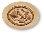 Squirrel in Oval springerle cookie mold, 77 mm x 58 mm / 3.0 in x 2.3 in