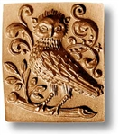 Owl With Leafy Vines Springerle Cookie Mold