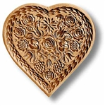 Flower Heart Finely Carved Springerle Cookie Mold