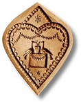Heart Finely Carved Springerle Cookie Mold