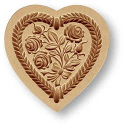 Heart with Rose Bouquet Springerle Cookie Mold