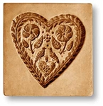Heart With Flowers And Two Birds Springerle Cookie Mold