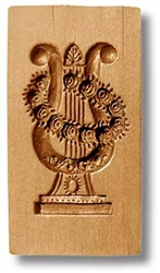 Lyre With Rose Wreath Springerle Cookie Mold