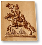 Mail Carrier Blowing A Horn And Riding A Horse Springerle Cookie Mold